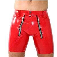 Mężczyźni Sexy Czerwone Gumy Lateksowej Majtki Bielizna Dla Człowieka Z Przodu I Crotch Zipper Plus Size Dostosowywanie Dostosowywanie usługi