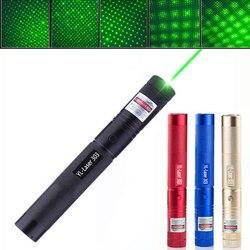 Lápiz puntero láser verde ajustable zoom foco quemador 303 532nm línea continua 500 a 10000 metros rango láser