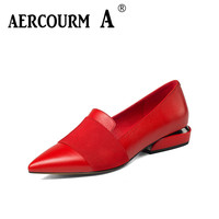 Aercourm A 2019 Women Genuine Leather Shoes Low Heel Women Shoes Heel Black Shoes Office Lady Sexy Party Shoes Big Size 34 43