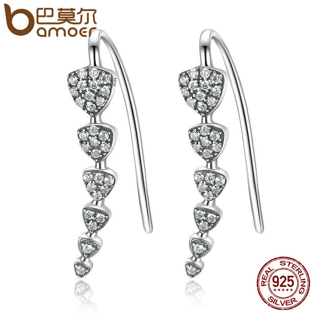 Sterling Silver Triangle Heart Long Drop Earrings