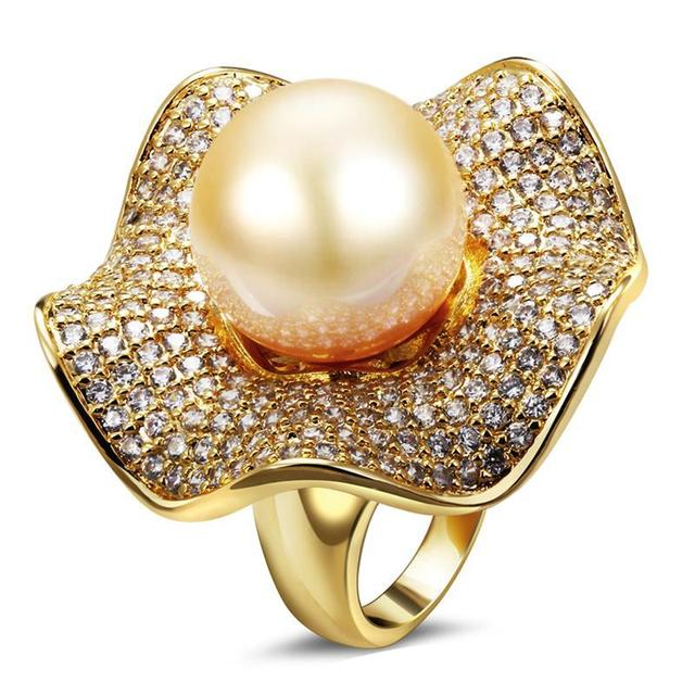New arrival ring Summer fashion Synthetic pearl High quality Gold plated Luxury women's ring Free shipping
