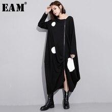 JA88 2020 春の新作ラウンドネック長袖無地黒プリントルーズビッグサイズロング不規則なドレス女性ファッション [Eam]