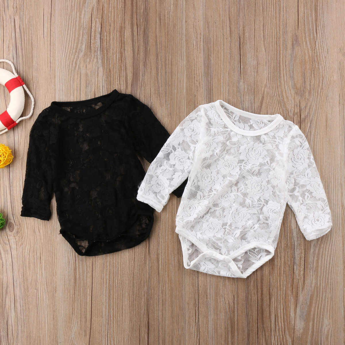 2018 Infant Newborn Baby Girls Long Sleeves Lace Sunsuit White or Black Jumpsuit Bodysuit Playsuit Solid Casual Outfit
