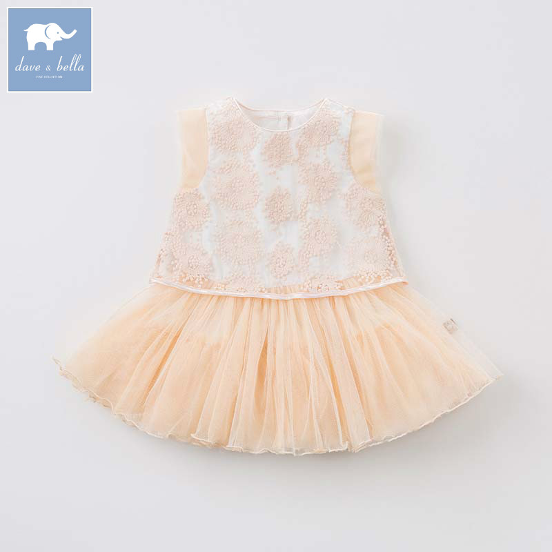 Dave Bella Lolita baby dress toddler girls summer embroidery clothing children Princess gown kids party wedding