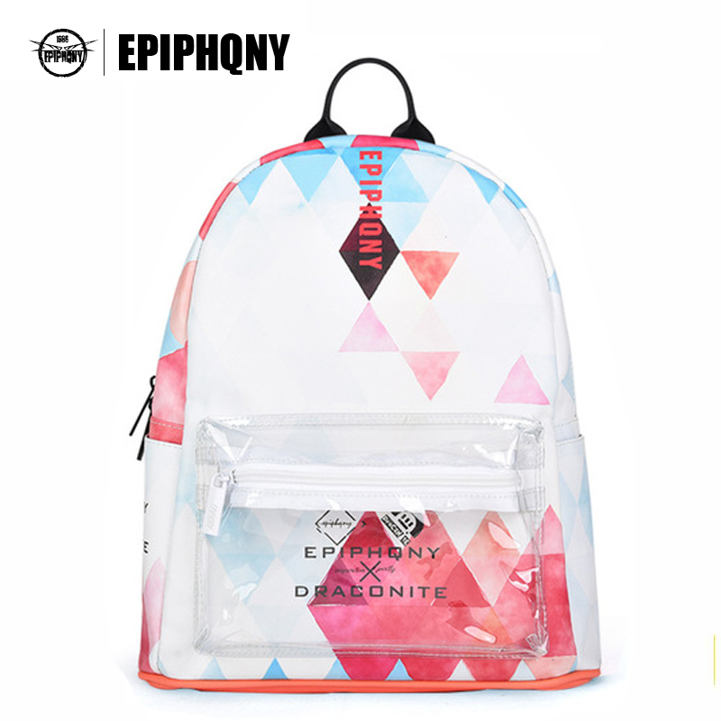 Famous Brand Transparent Pocket Small Backpack Women Geometry Printing School Bag PU Leather Knapsacks Lady Clear Bagpack