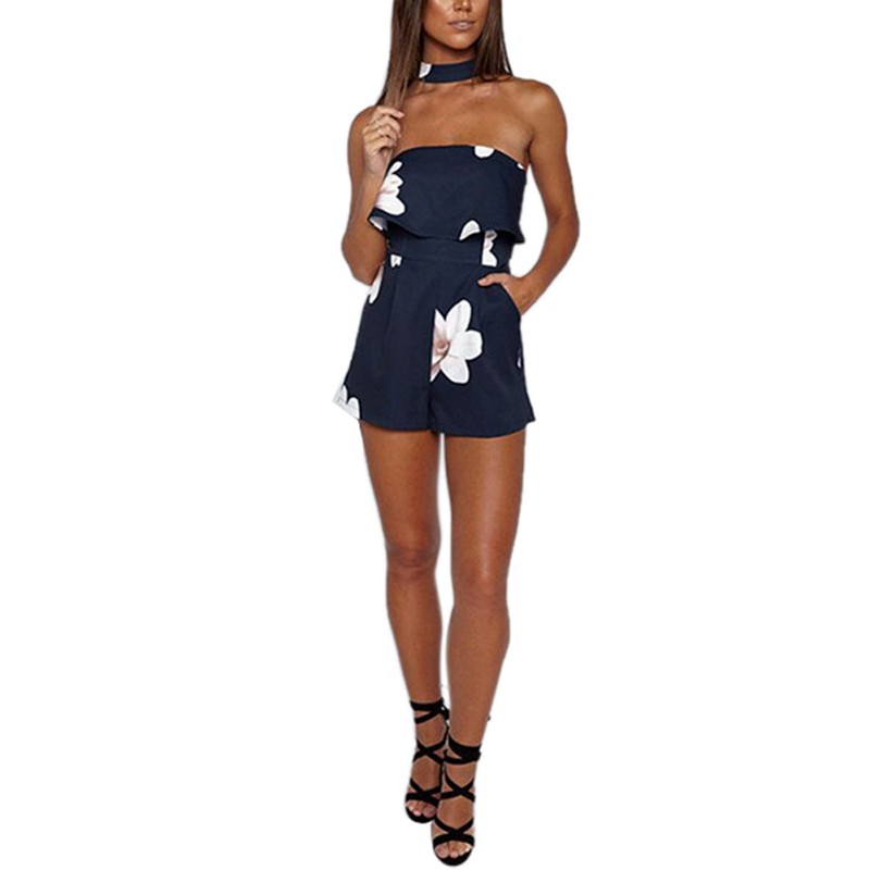 Hot Summer Dark Blue Floral Printed Women Lady Playsuits Sexy Sleveless Ruffle Jumpsuits