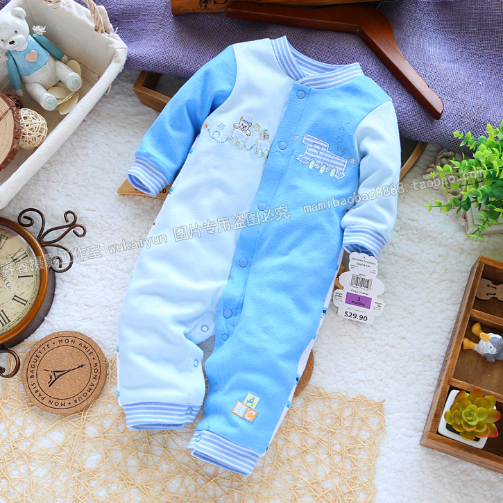 Free shipping Retail new 2017 Spring autumn baby clothes newborn romper baby boy 100% cotton long sleeve jumpsuits kids overalls  free shipping new 2017 spring autumn baby clothing infant set gift baby jumpsuits newborn romper 4pcs set 2pcs romper hat bib