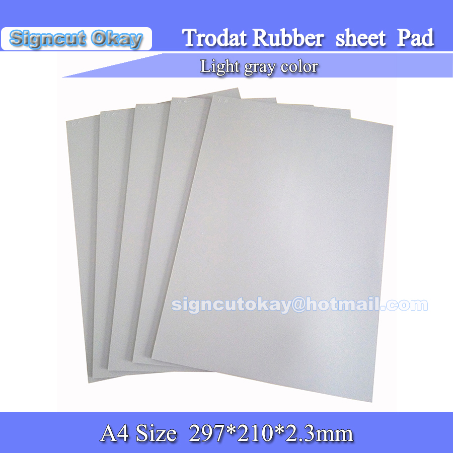 Rubber Sheet Pad  With    Trodat Logo  297*210*2.3mm    A4 Size  Light Grey  For Laser Engraving Machine