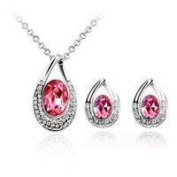 Topkwaliteit vrouwen sieraden oostenrijkse kristallen hanger ketting oorbellen Kristallen Sieraden Sets Gratis verzending