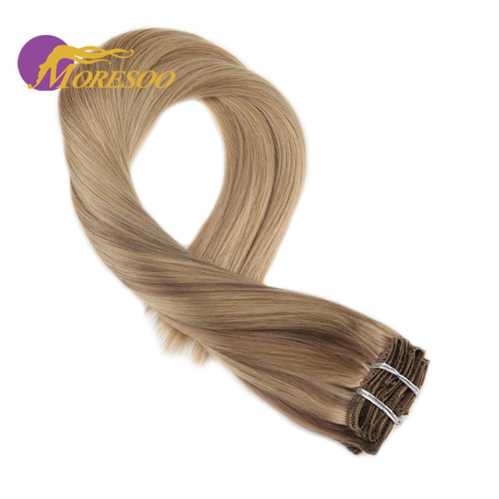 Moresoo Clip In Hair Extension Balayage Ombre Brown #10 Mixes With Blonde #16 Machine Remy Human Hair Extensions 7Pcs 100g