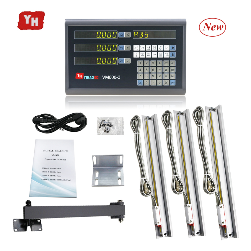 Complete 3 Axis Dro Kit Set Big LCD Display Digital Readout Controller with 3pcs 5U Linear Scale Linear Optical Ruler 50 to 1000