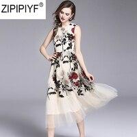 2018 Summer Fashion Patchwork Mesh Embroidery A Line Dress Women O Neck Sleeveless High Waist Mid Calf Dresses Vestidos C1117