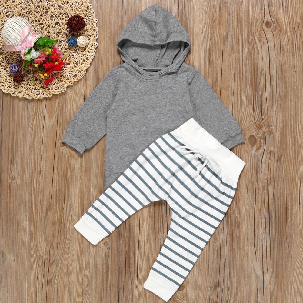 3-24M Newborn Infant Baby Boy Girl cotton Clothes Stripe Hooded T-shirt Tops+Pants autumn bebe unisex Outfit Set ###