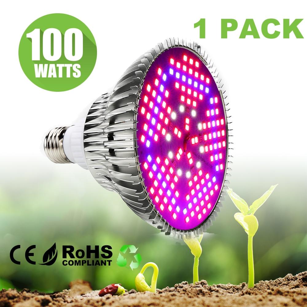 100W Full Spectrum E27 LED Grow Light 2835SMD AC85-265V LED Grow Light Lamp For Plants & Hydroponic System Grow/Bloom Lighting
