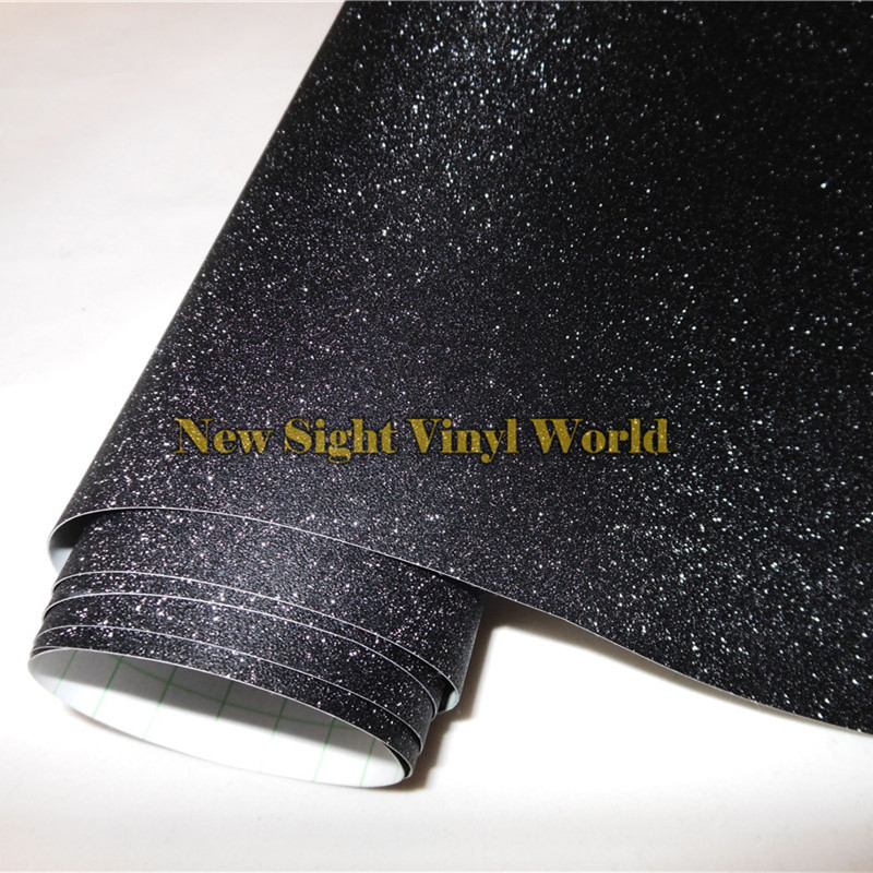 High Quality Black Bling Sandy Diamond Vinyl Film Roll Wrap Air Free For Phone Laptop Computer
