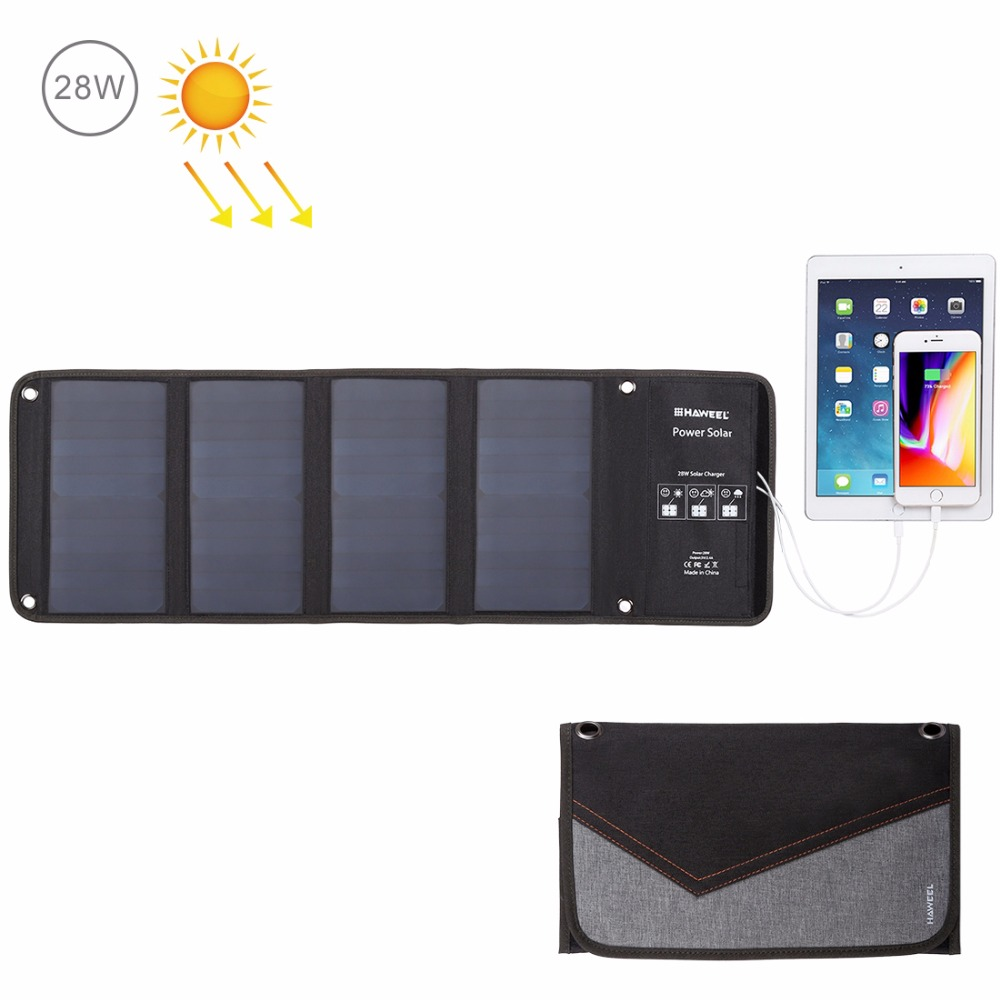 Chargeur solaire Portable HAWEEL 14 W 21 W 28 W pour téléphone Portable Camping voyage chargeur de panneau solaire pliable avec deux Ports USB