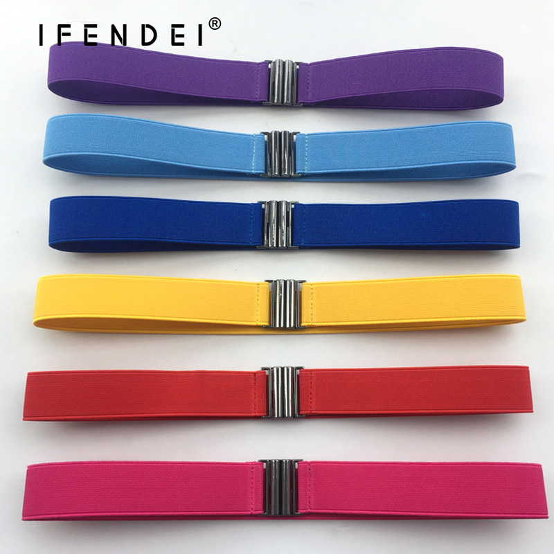 IFENDEI Casual Elastic Waistband Women's Belt Metal Buckle Canvas Waist For Jeans Dress Comfortable White Blue Cintos Femininos