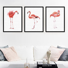 Nordic cartoon animal watercolor flamingo study triple painting wall painting children's room hanging painting without frame(China)