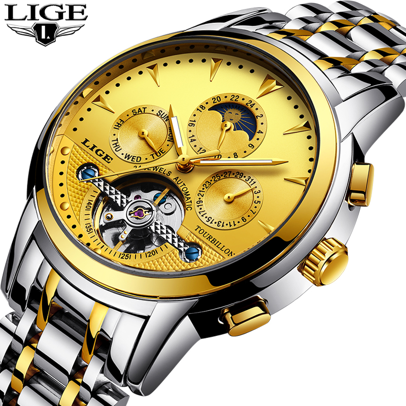 Relogio Masculino 2018 LIGE Top Brand Luxury Automatic Mechanical Mens Watches Sport Waterproof Stainless Steel Gold Watch Male hot sale ailang classic mens watches top brand luxury automatic mechanical watch fashion male clocks stainless steel gold watch