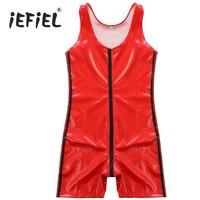 Sexy Bliscy Męskie Red Rękawów Zipper Catsuit Wetlook Faux leather Body Clubwear Kostiumy Egzotyczne Bielizna Noc męska