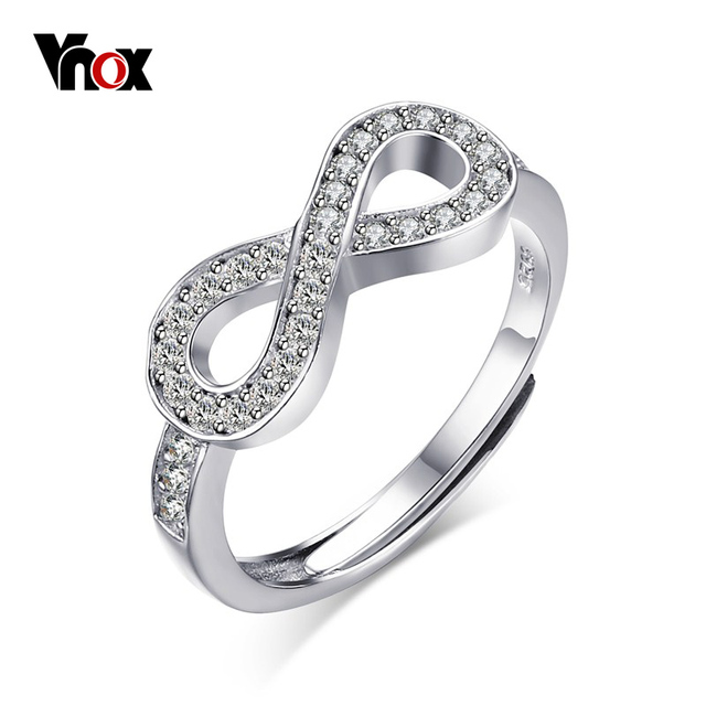 Sterling Silver 925 Infinity Ring with Cubic Zirconia jTGGjp