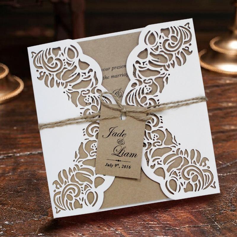 Invitație de nunta invitație, carte de incizie rustică cu tăiere - Produse pentru sărbători și petreceri