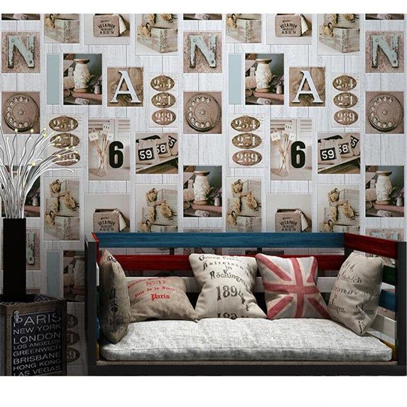 Beibehang personnalité bois Graffiti Alphabet anglais numérique papier peint Bar KTV magasin de vêtements hôtel rétro bois papier peint