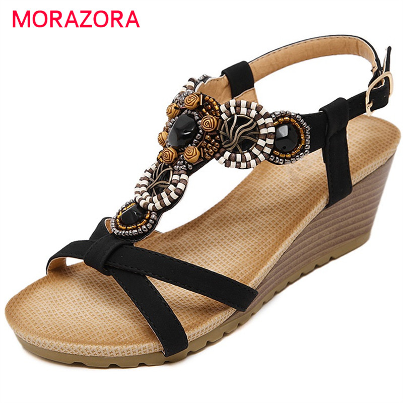 MORAZORA Wedges shoes woman high heel 6cm sandals women shoes national style summer shoes party buckle PU size 35-40 pu line style buckle high heel womens glitter sandals