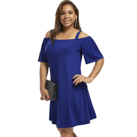 CharMma 2017 New Autumn Dress Women Big Size Casual Solid Plus Size Cold Shoulder Half Flare