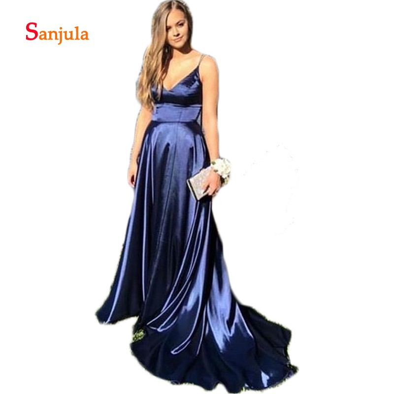 Navy Blue Elastic Satin Bridesmaid Dresses 2019 Sweetheart Tank A-Line Wedding Party Dress For Girls Simple Prom Gowns D307