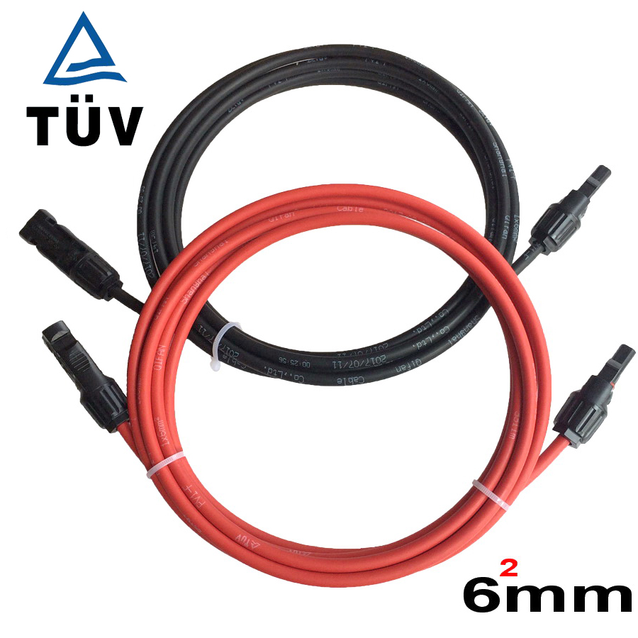 Free Shipping  AWG TUV Solar PV Cable 6mm2 With MC4 Connector Tinned-Copper Conductor TUV Approved Insulation Solar Cable Wire