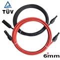 Бесплатная доставка  AWG TUV Солнечный PV кабель 6 мм2 с разъемом лужено-медный проводник TUV одобренный изоляционный Солнечный кабель провод