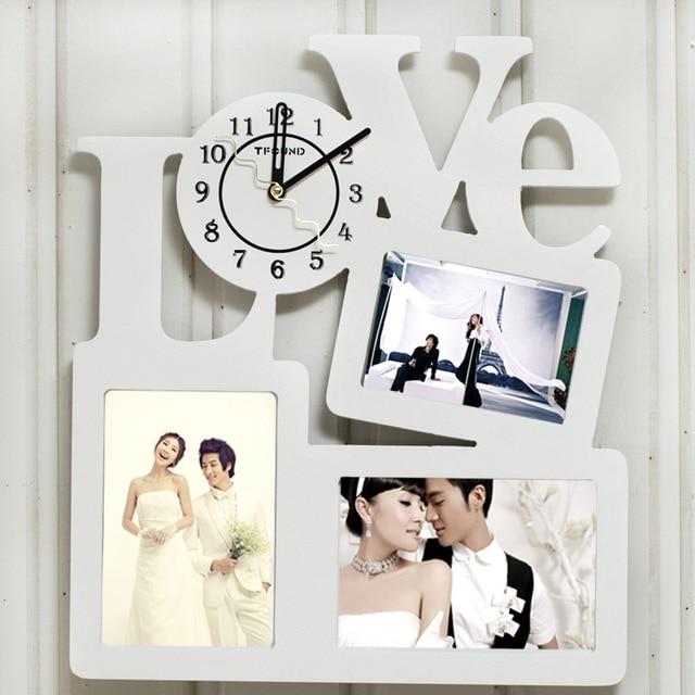 Love Creative Fashion Photo Frame Wall Clock Modern Wooden Wall ...
