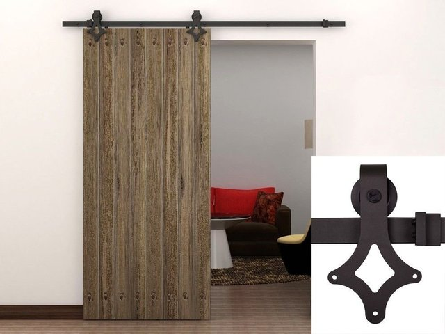 Free Shipping Rustic Black Vintage Rhombus Style Sliding Barn Door