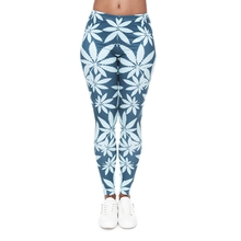 Women Fashion Streetwear Dark Blue Color Ladies Sport leggins Leaf Printed Slim Mid Waist Leggings Woman Skinny Pants