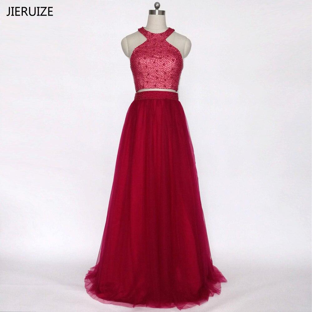 JIERUIZE ballkleider Бургундские платья для выпускного вечера Длинные жемчужины из двух частей Платья для выпускного вечера Элегантное длинное вечернее платье robe de bal longue