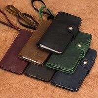 Genuine Leather business retro style mobile phone case for xiaomi mi 8 handmade flip phone case for xiaomi redmi note 5 case