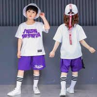 Детская одежда в стиле хип-хоп, танцевальные костюмы для девушек, джазовой сцены танцевальные Костюмы ребенок мальчик свободного кроя баль...