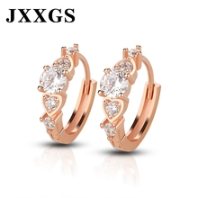 JXXGS Hoop Zirconia Earrings For Women Rose Golden Tiny Small Wedding 925 Luxury Korean Girls