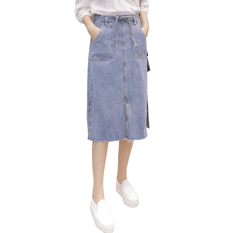 Spring Summer Autumn women long denim skirts casual Belt Pockets plus size maxi skirts v ...