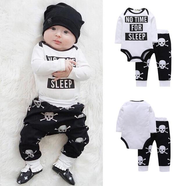 e8351e9fb Hot Sale Newborn Infant Baby Boys Kid Fashion Letter Bodysuit Skull ...