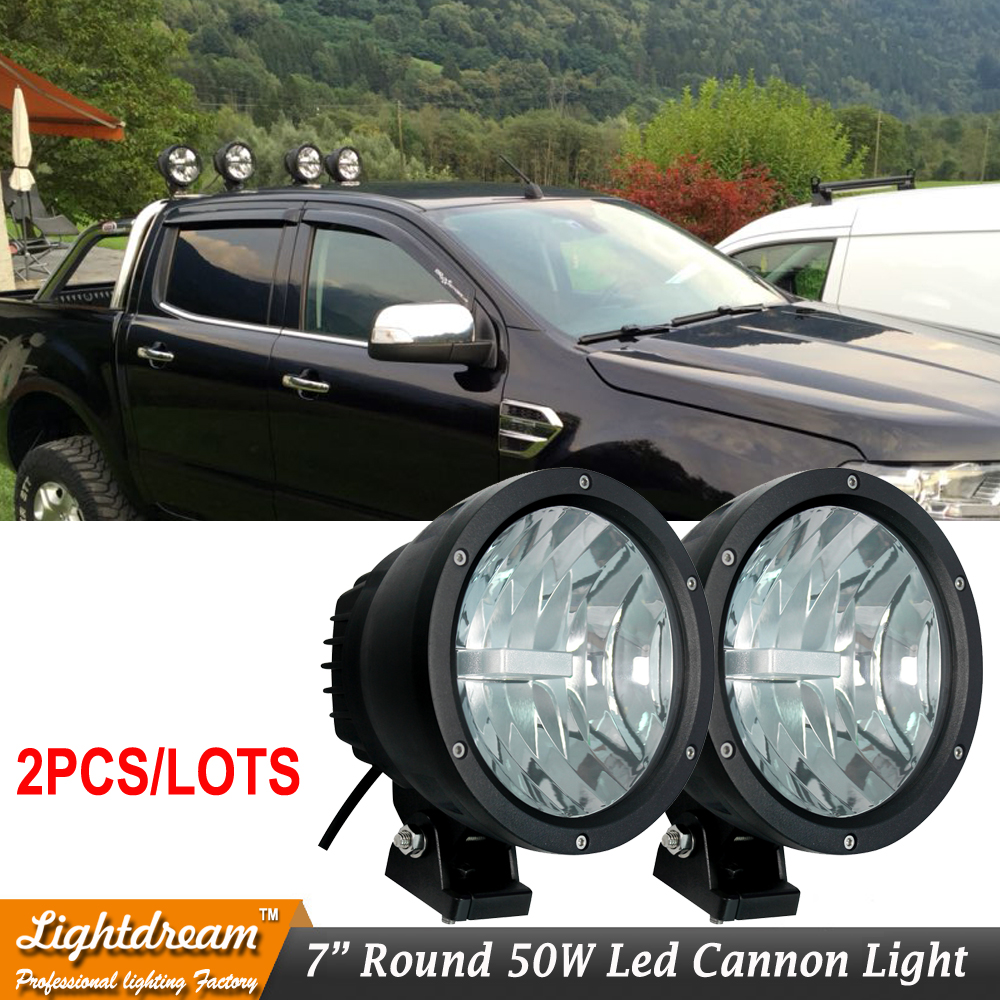 Offroad Lighting 9888545 Cannon Black 6.7 50W Narrow LED Spot Light 12v 24v led cannon light external lights For Truck x Pair амортизаторы bilstein в6 offroad