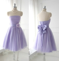 Strapless Coral Bridesmaids Dresses Pleat Cheap Beautiful Short Wedding Party Dress 2014 New Prom Dress Gown