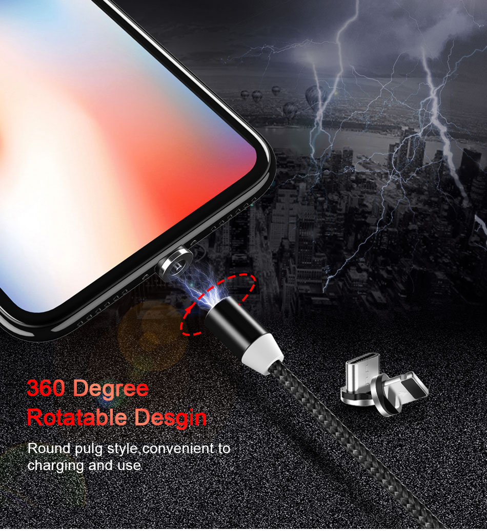 NOHON Strong Magnetic Long Charger Cables 8 Pin For iPhone XS MAX XR X 8 Plus Charging Cable Micro USB Type-C For Samsung S8 2M (3)