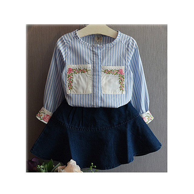 Children Girls Set Sets two pieces Kids Spring Autumn Winter tshirt + Jeans Skirt Striped sky Blue Size for 3,4,5,6,7 years old