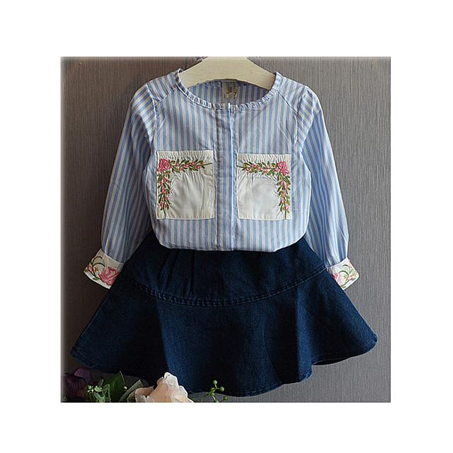 Muchachas de los niños Fijan Juegos de dos piezas Niños Primavera Otoño Invierno camiseta + jeans falda a rayas tamaño del cielo azul de 3,4, 5,6, 7 años