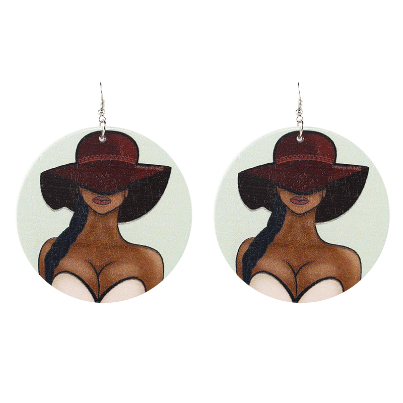 AENSOA Vintage Painted 18 Style Africa Wooden Drop Earrings For Women Statement Round African Ethnic Fashion Jewelry wholesale