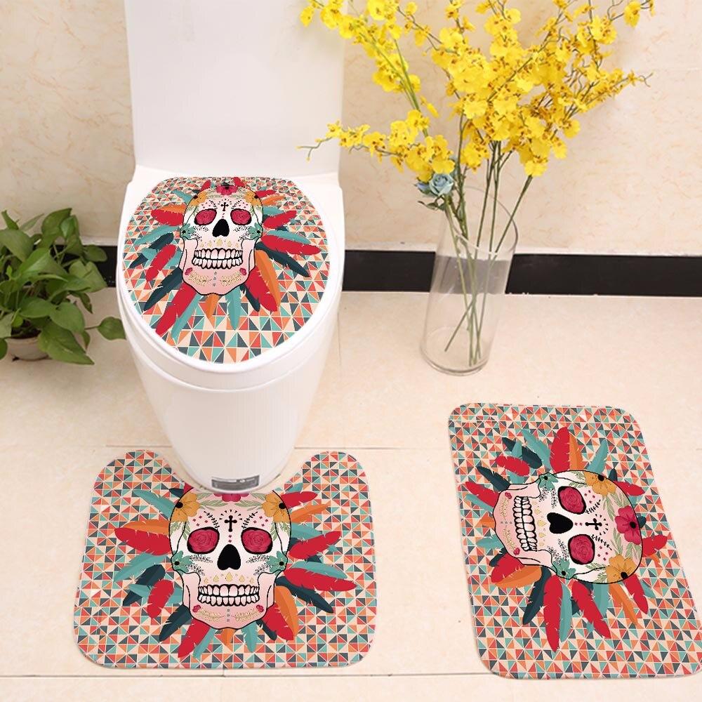 Trois pièces flanelle salle de bains tapis de toilette art fleur crâne tapis Halloween paillasson imprimé antidérapant tapis terreur peluche floormat