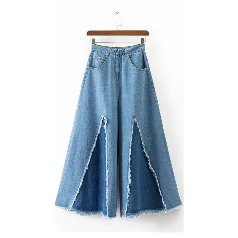 Springtime New Style Fashion Hip Hop Loose Women's High Waist Jeans Retro Edge Tassel Jeans Wide Leg Pants hot new large size jeans fashion loose jeans hip hop casual jeans wide leg jeans