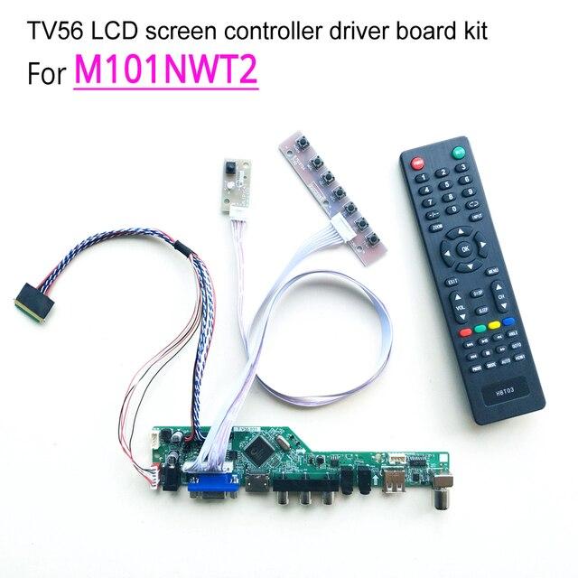 """T.V56 سائق تحكم اللوحات الرئيسية لتقوم بها بنفسك عدة ل M101NWT2 دفتر الكمبيوتر لوحة ال سي دي VGA HDMI RF USB 40 دبوس 10.1 """"WLED LVDS 1024*600"""